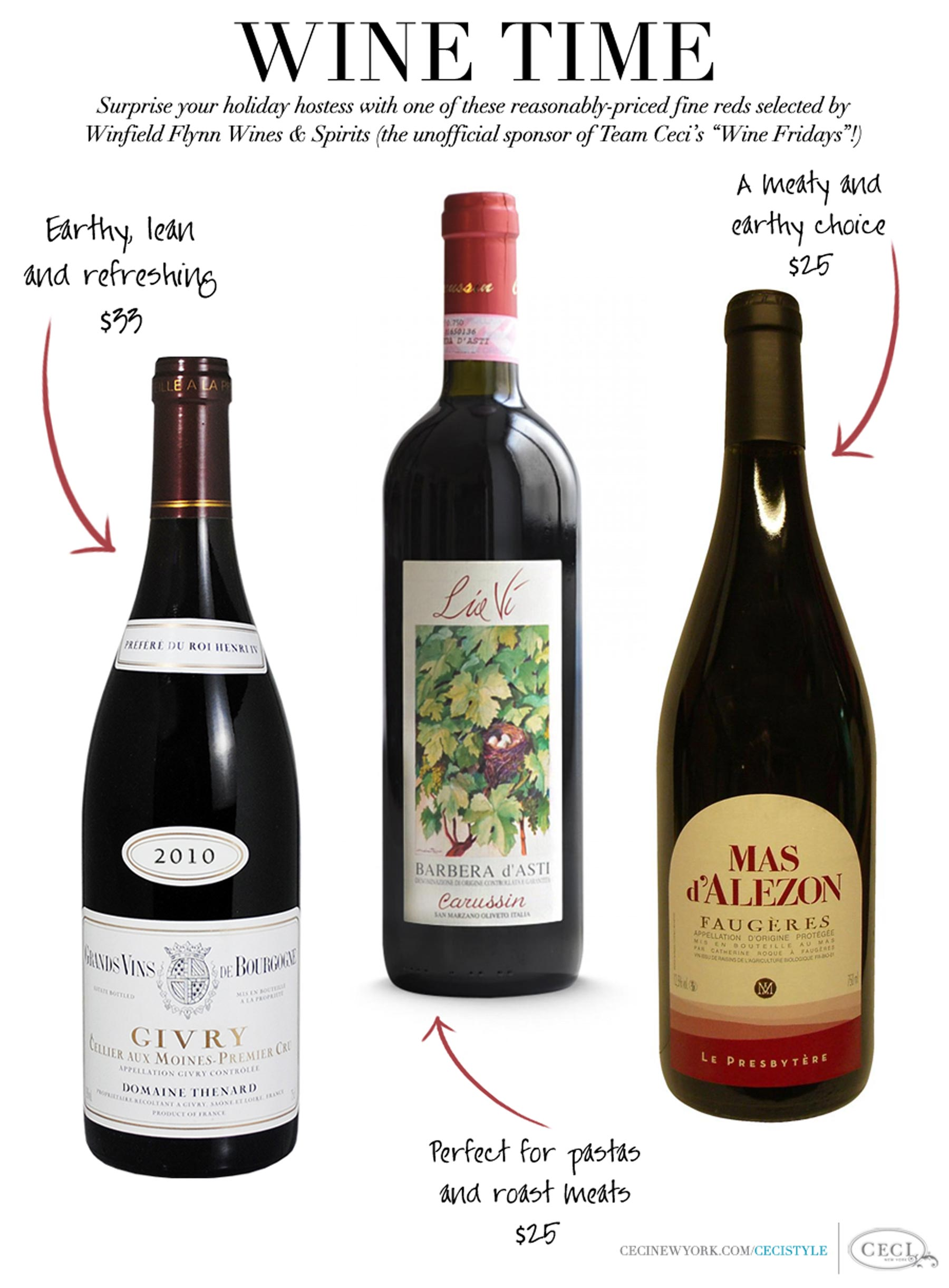 Wine Time - Surprise a hostess this holiday season with one of these fine bottles of red
