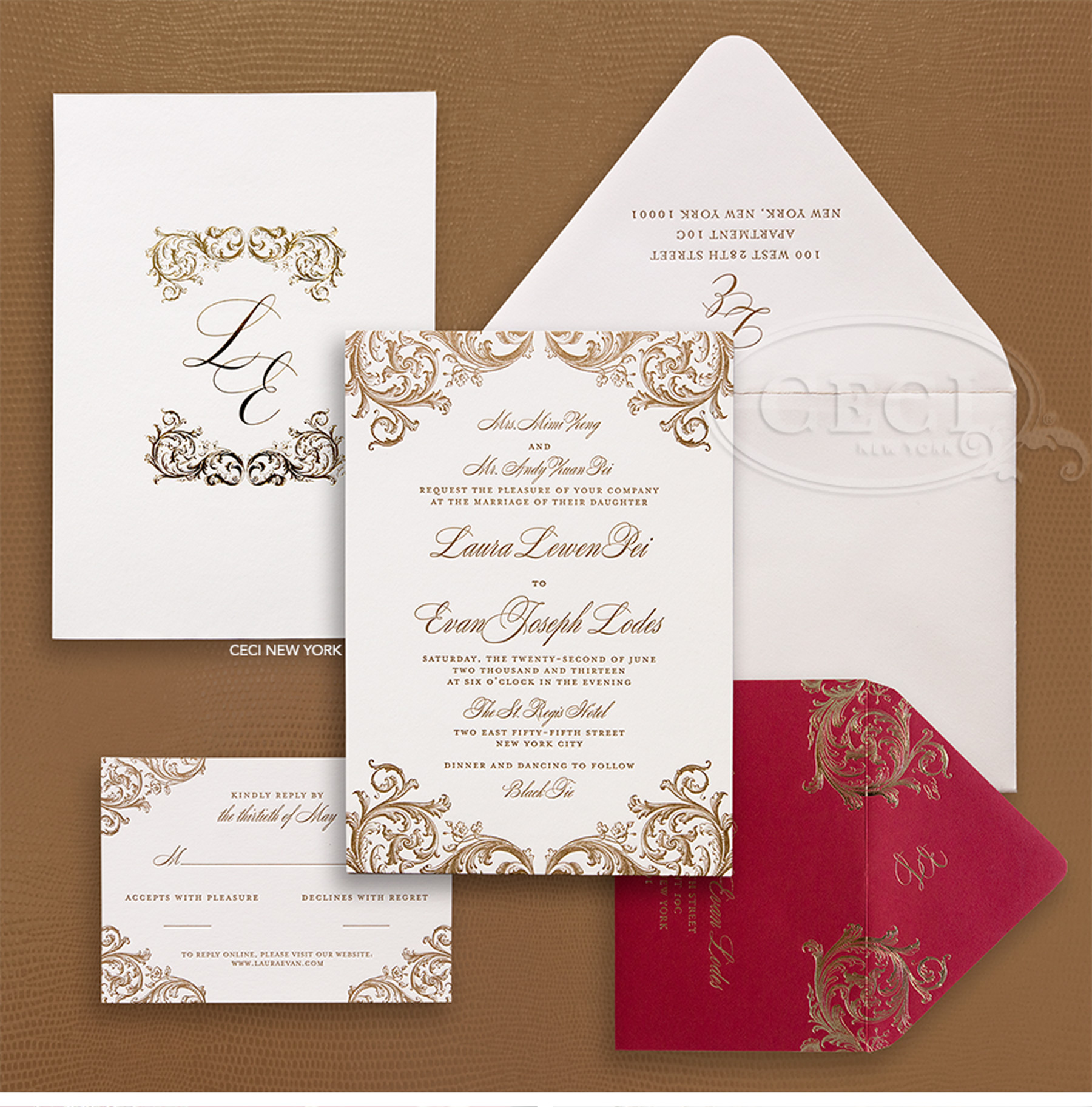 Luxury Wedding Invitations by Ceci New York - Our Muse - Ornate Red and Gold Wedding at the St. Regis - Be inspired by Laura & Evan's ornate red and gold wedding at the St. Regis in New York City. - ceci new york, wedding invitation, luxury invitations, couture, letterpress printing, custom design, ornate invitation, gold foil, monogram, st. regis, new york city