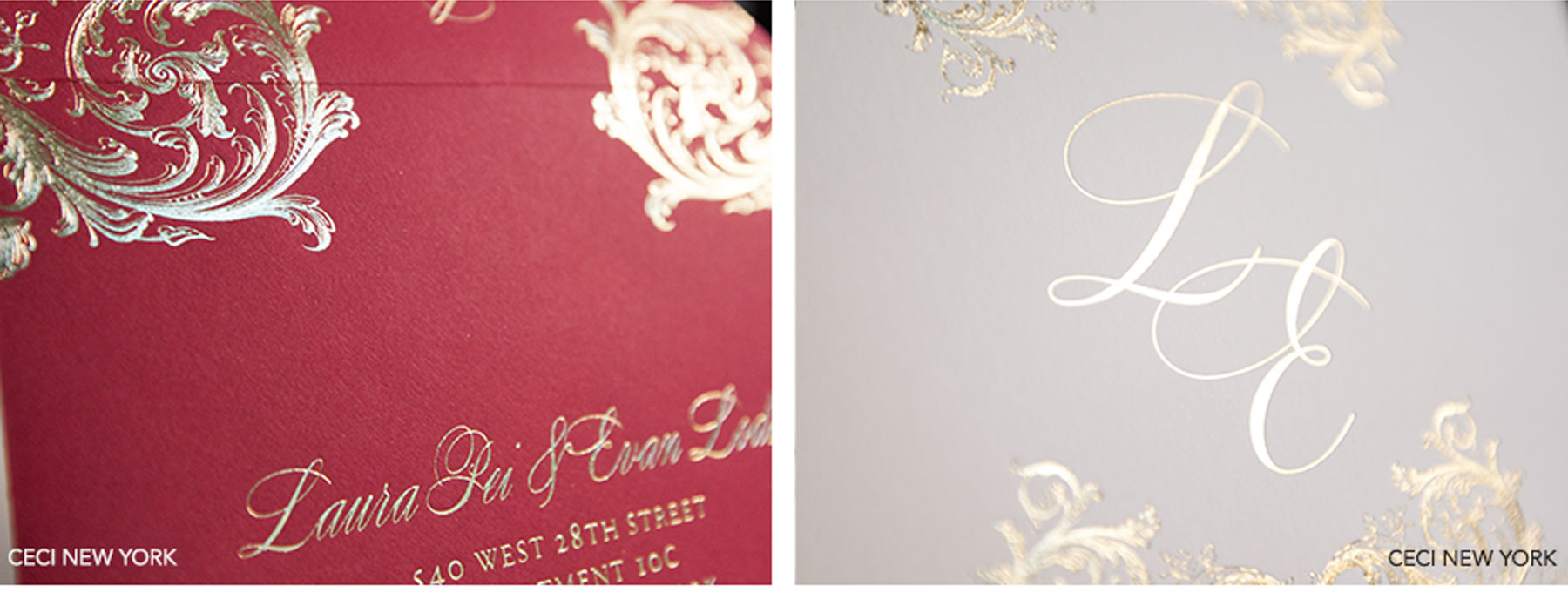 Luxury Wedding Invitations by Ceci New York - Our Muse - Ornate Red and Gold Wedding at the St. Regis - Be inspired by Laura & Evan's ornate red and gold wedding at the St. Regis in New York City. - Ceci New York Luxury Wedding Invitations - ceci new york, wedding invitation, luxury invitations, couture, letterpress printing, custom design, ornate invitation, gold foil, monogram, st. regis, new york city