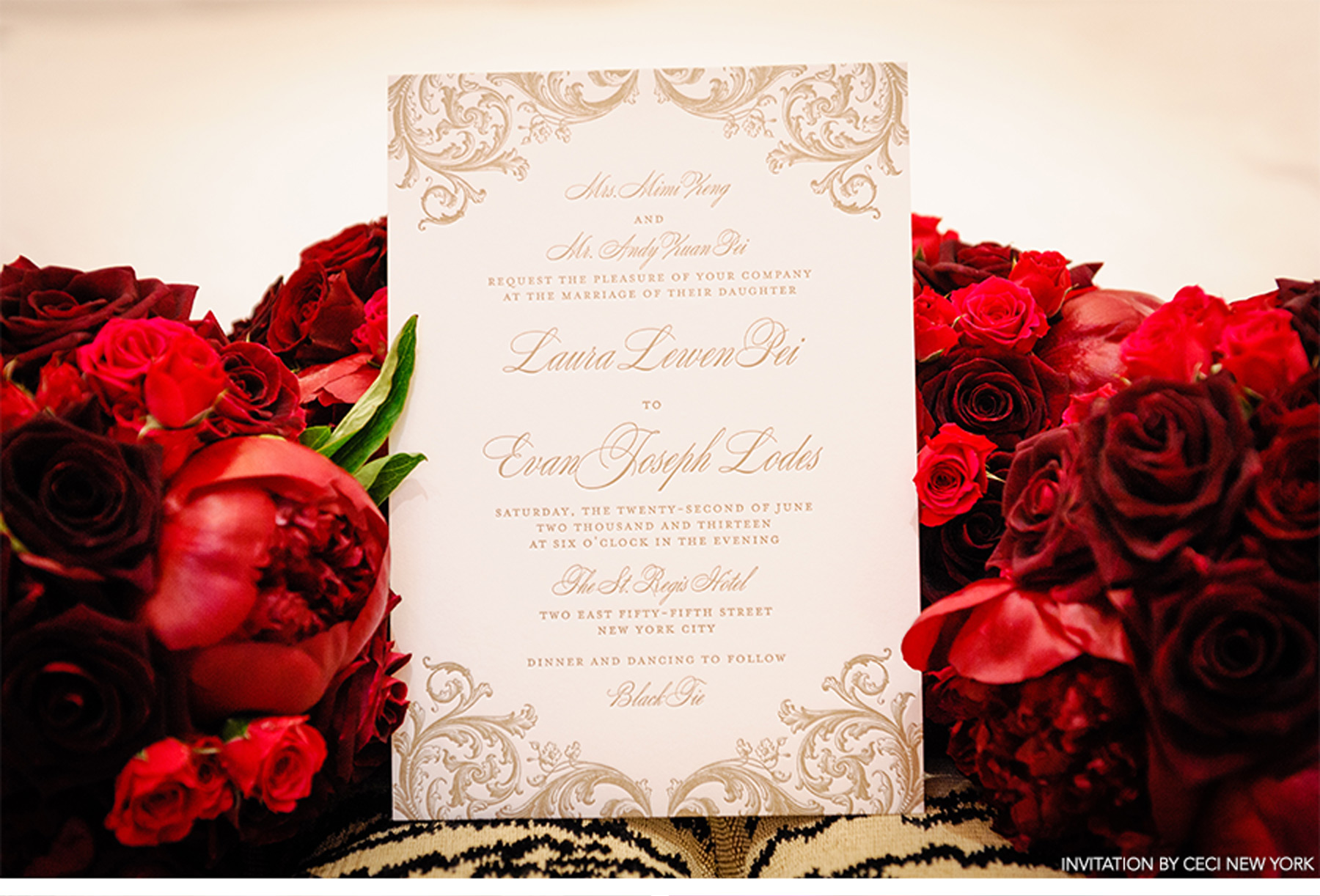 Awesome Red And Gold Wedding Invitation Photo - Invitation Card ...