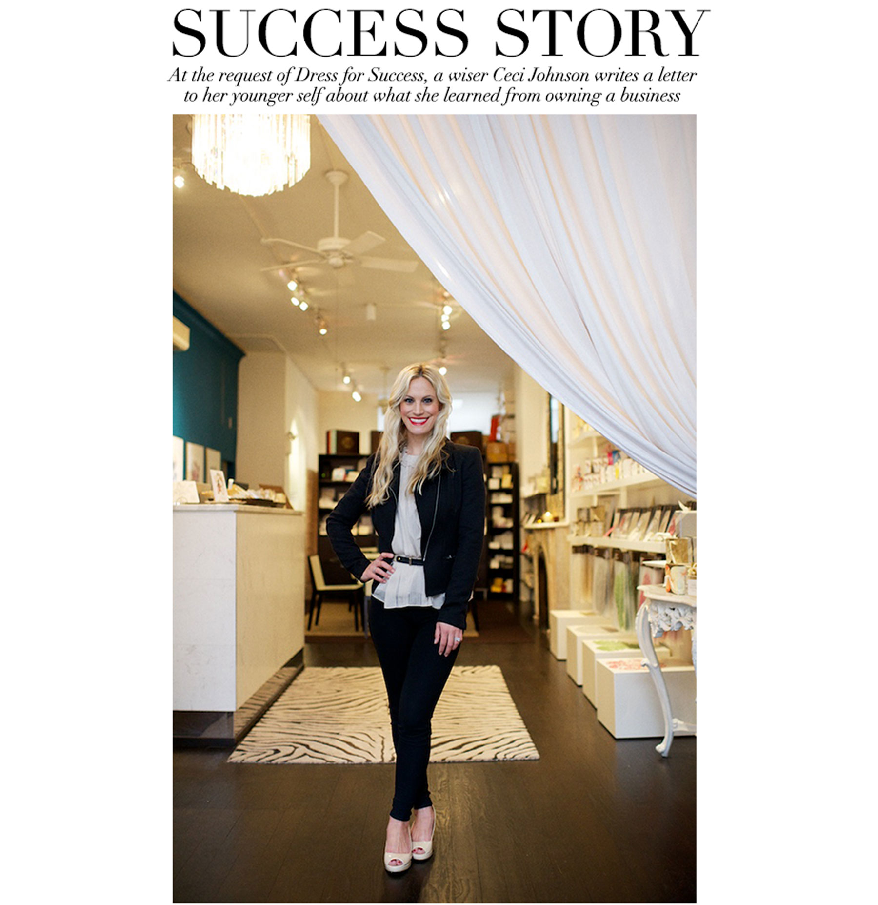 Success Story - At the request of Dress for Success, a wiser Ceci Johnson writes a letter to her younger self about the lessons learned from owning a business