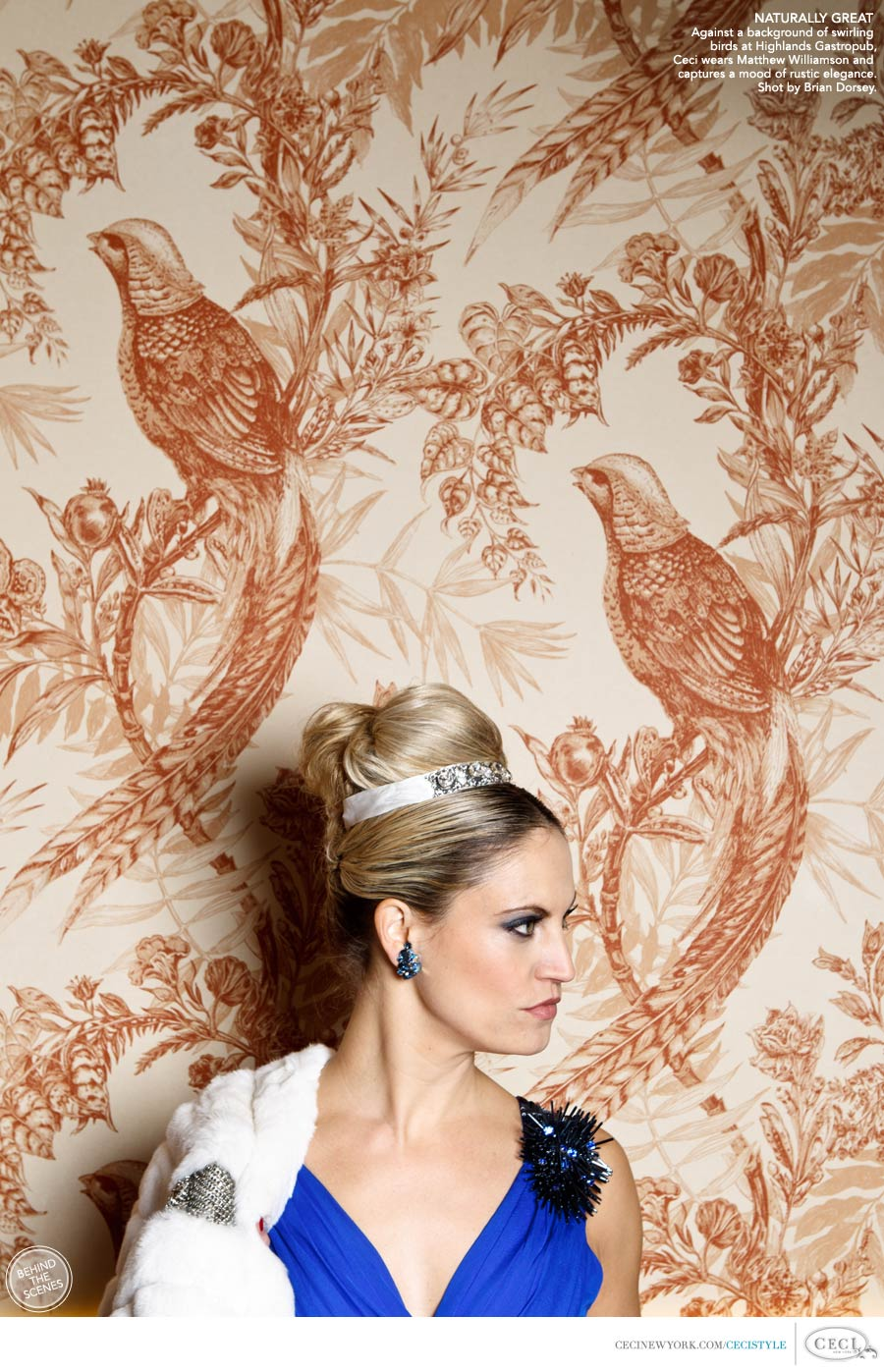 Ceci Johnson of Ceci New York - NATURALLY GREAT: Against a background of swirling birds at Highlands Gastropub, Ceci wears Matthew Williamson and captures a mood of rustic elegance. Shot by Brian Dorsey.