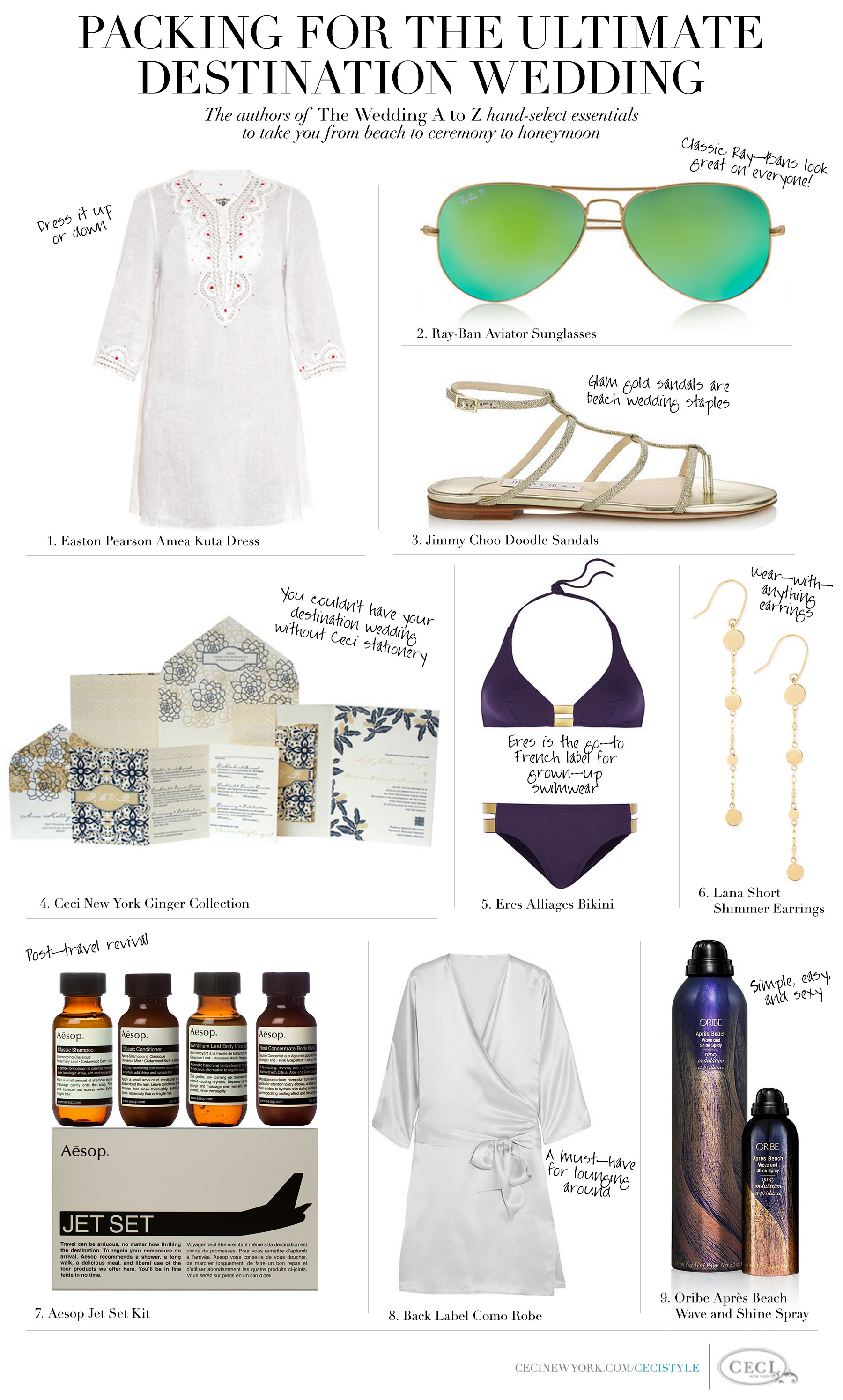 Packing for the Ultimate Destination Wedding - The authors of The Wedding A to Z hand-select essentials to take you from beach to ceremony to honeymoon