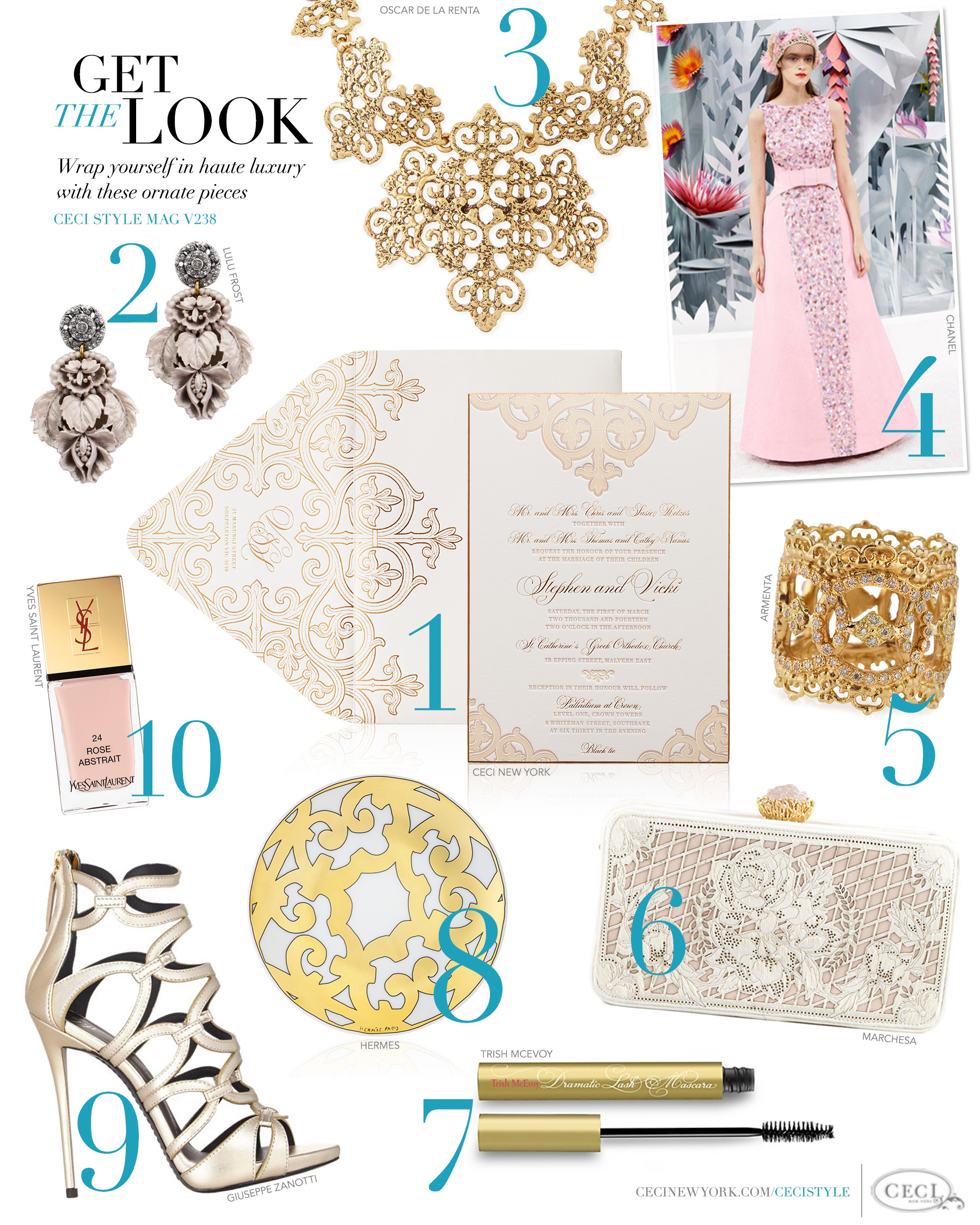 CeciStyle Magazine v238: Get The Look - A Passion for Fashion - Wrap yourself in haute luxury with these ornate pieces - Luxury Wedding Invitations by Ceci New York - ceci new york, wedding invitation, gift idea, home goods, fashion-inspired, inspiration, style, lulu frost, oscar de la renta, chanel, armenta, marchesa, trish mcevoy, hermes, giuseppe zanotti