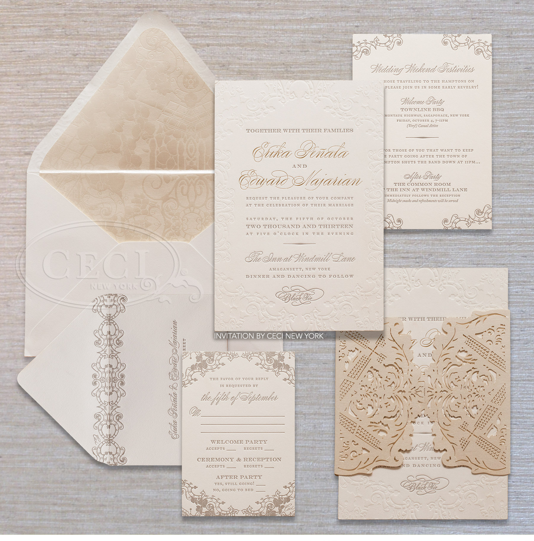 Luxury Wedding Invitations By Ceci New York: Ethereal Hamptons Wedding: Erika & Ed