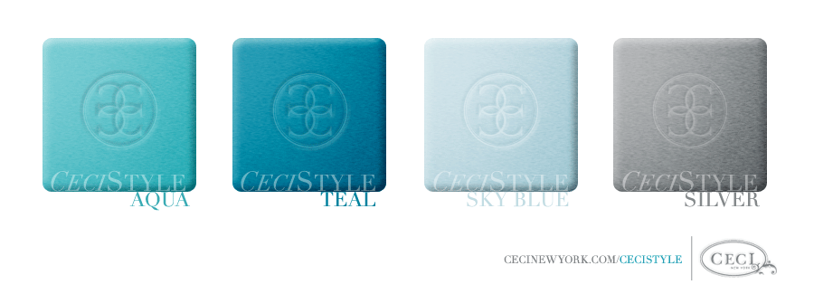 Ceci Color Stories – Blue & Silver Wedding Colors - color swatches, aqua, silver, sky blue, teal, wedding