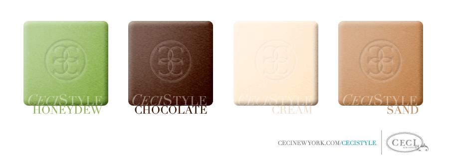 Ceci Color Stories – Honeydew & Chocolate Wedding Colors - color swatches, chocolate, cream, honeydew, sand, wedding