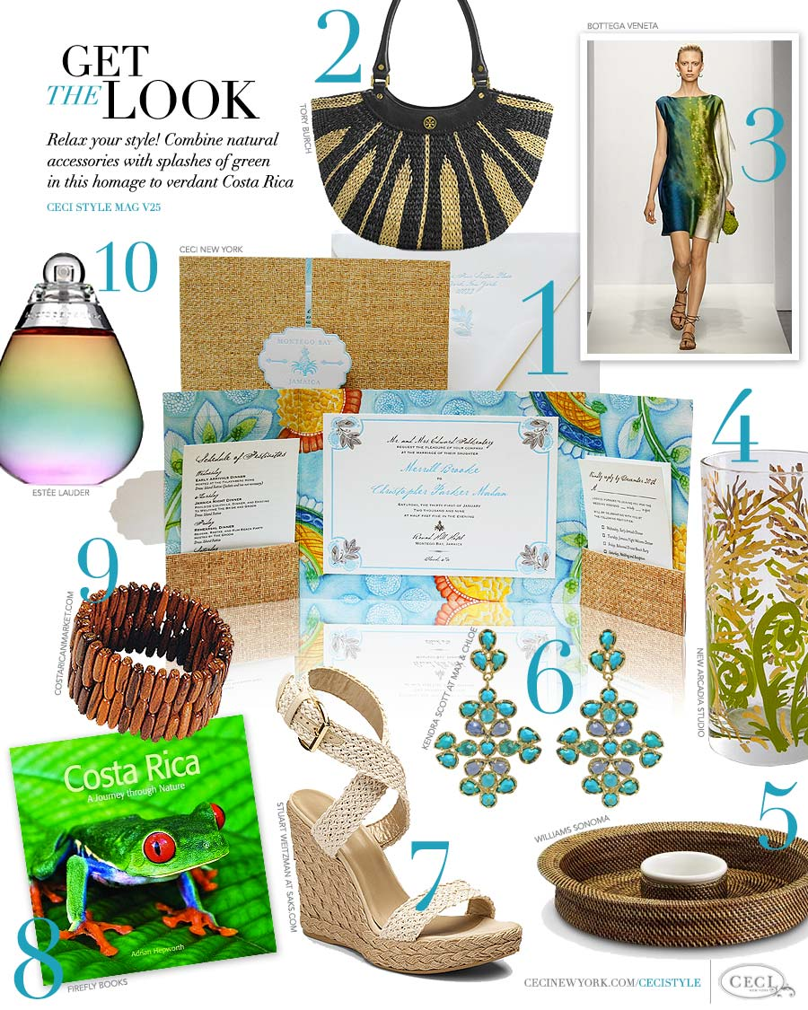 CeciStyle Magazine v25: Get The Look - Costa Rica Design - Relax your style! Combine natural accessories with splashes of green in this homage to verdant Costa Rica