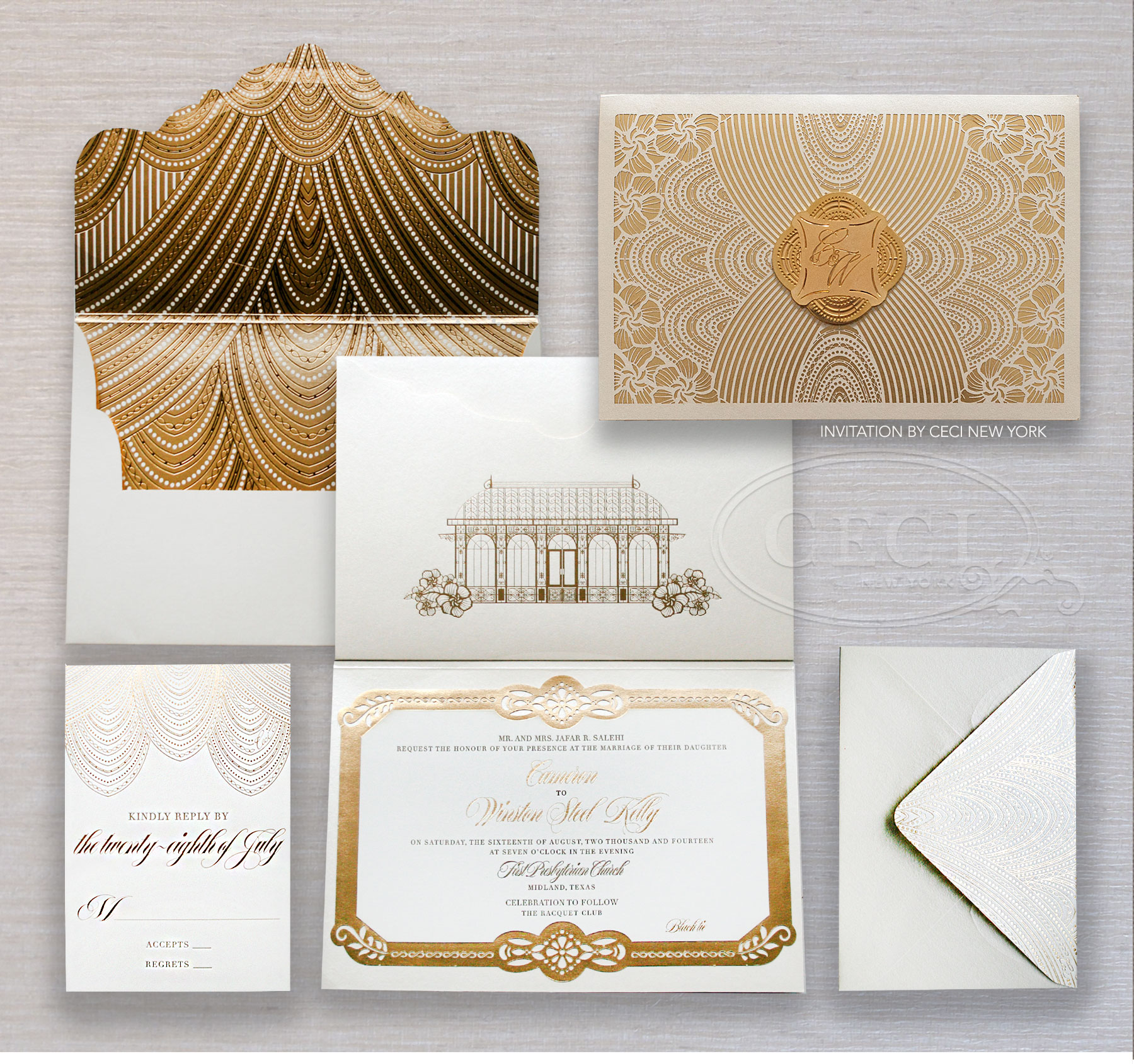 Luxury Wedding Invitations by Ceci New York - Our Muse - custom wedding invitations, luxury wedding invitations, couture, racquet club, texas, glamour, gold, ceci new york - Be inspired by Cameron and Winston's glamorous wedding in Texas. - custom wedding invitations, luxury wedding invitations, couture, racquet club, texas, glamour, gold, ceci new york