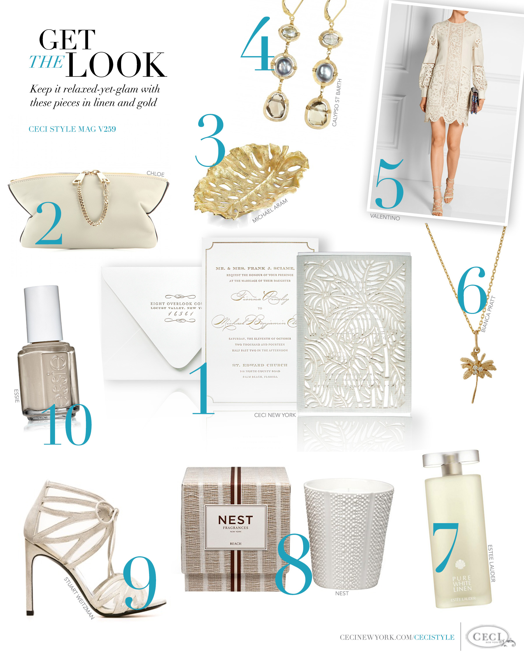 CeciStyle Magazine v259: Get The Look - Palm Chic - Keep it relaxed-yet-glam with these pieces in linen, sand and gold. - Luxury Wedding Invitations by Ceci New York - ceci new york, laser-cut, linen invitation, chloe, michael aram, calypso st barth, valentino, bianca pratt, palm tree, estee lauder, nest, lotus flower, coconut, melon, stuart weitzman, essie, fashion, style
