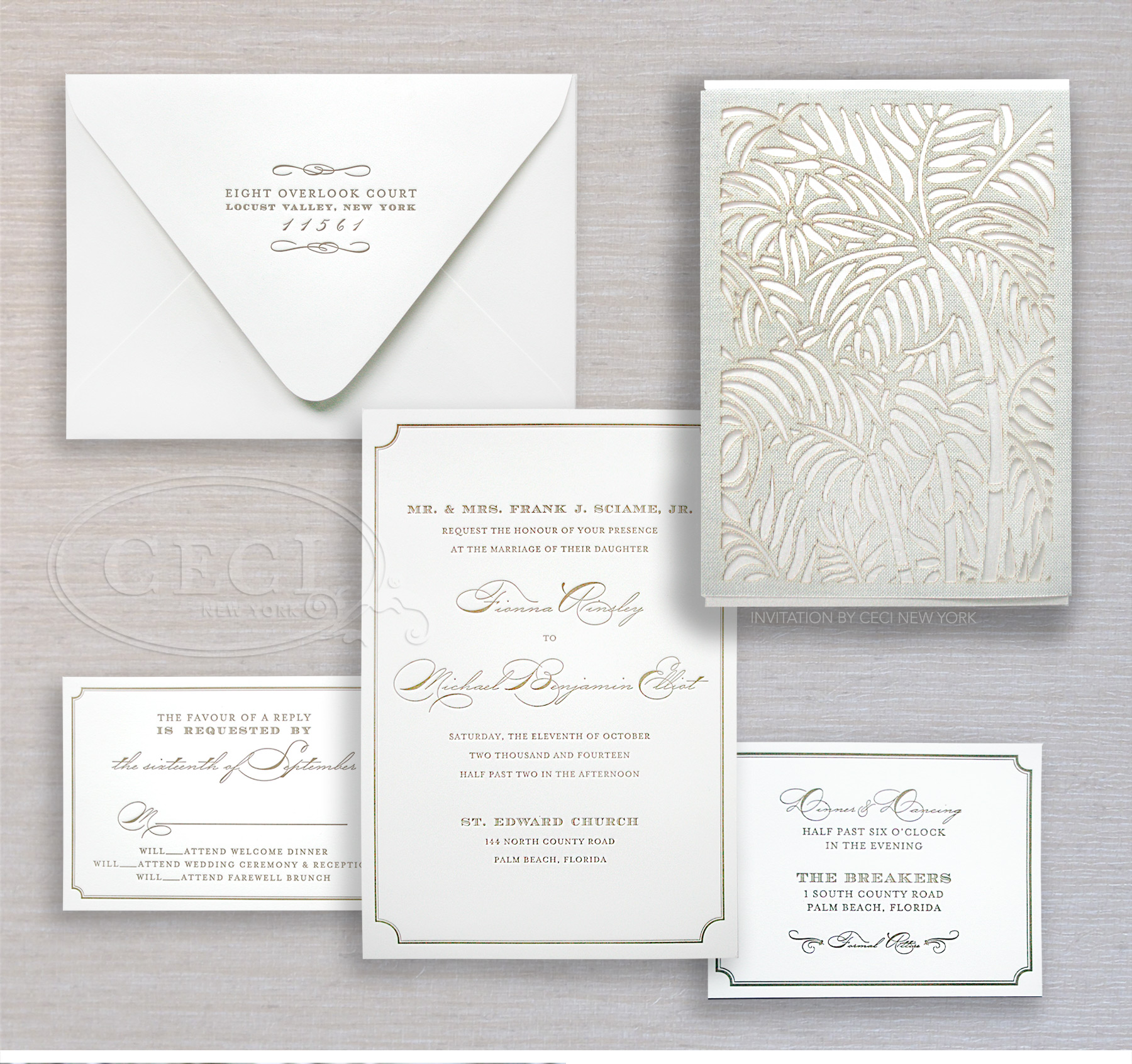 Luxury Wedding Invitations by Ceci New York - Our Muse - Luxe Beach Wedding in Palm Beach: Fiona and Michael, Part 1 - Be inspired by Fiona and Miachel's luxe beach wedding in Palm Beach, Florida. - custom wedding invitations, luxury wedding invitations, couture, palm beach, florida, ceci new york