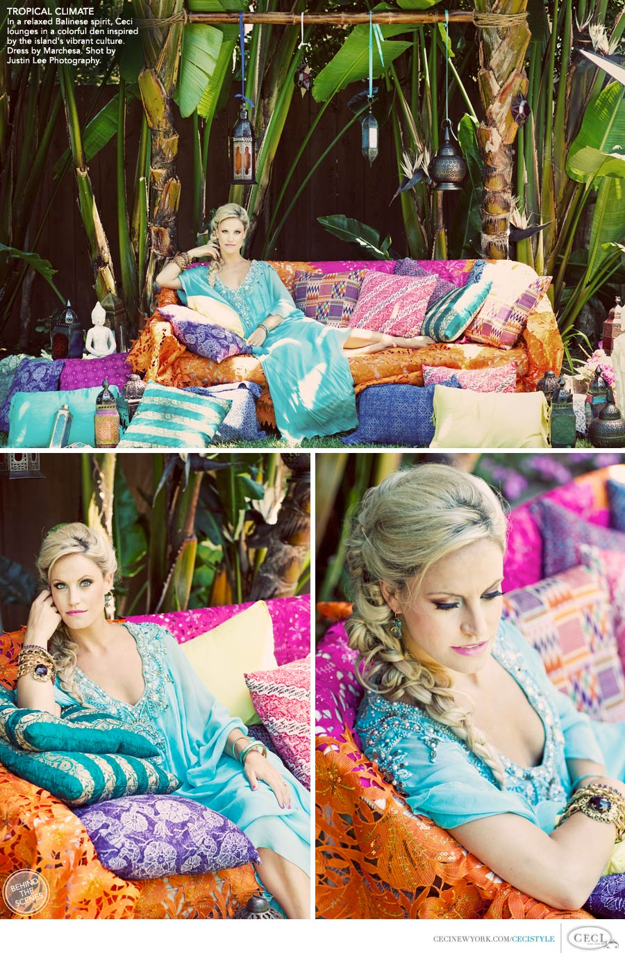 Ceci Johnson of Ceci New York - TROPICAL CLIMATE: In a relaxed Balinese spirit, Ceci lounges in a colorful den inspired by the island's vibrant culture. Dress by Marchesa. Shot by Justin Lee Photography.