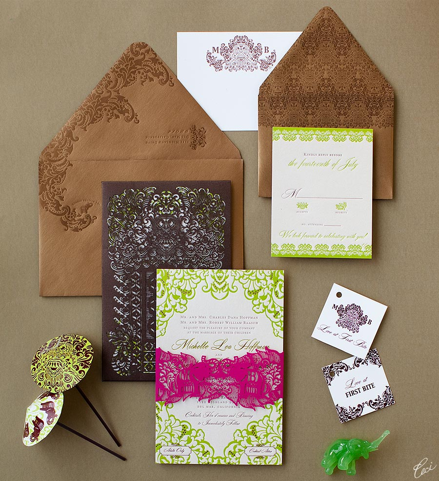 Luxury Wedding Invitations by Ceci New York - Our Muse - Be inspired by Michelle &#038; Brendan's Bali-themed wedding - invitations, laser-cut printing, letterpress printing, wedding