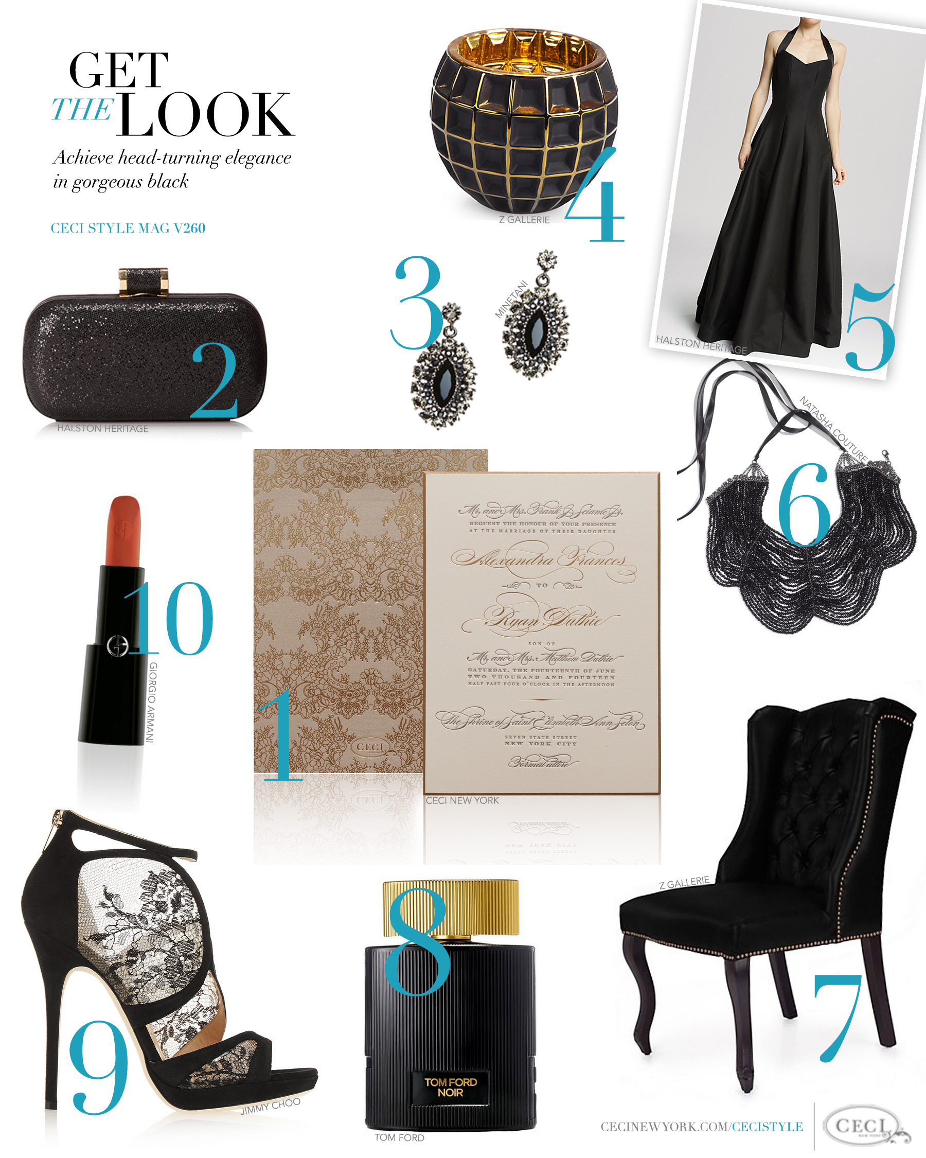 CeciStyle Magazine v260: Get The Look - Urban Elegance - Achieve head-turning elegance in gorgeous black lace - Luxury Wedding Invitations by Ceci New York - ceci new york, fashion, style, luxury wedding invitations, couture, custom wedding invitations, halston heritage, minetani, z gallerie, natasha couture, tom ford, jimmy choo, giorgio armani