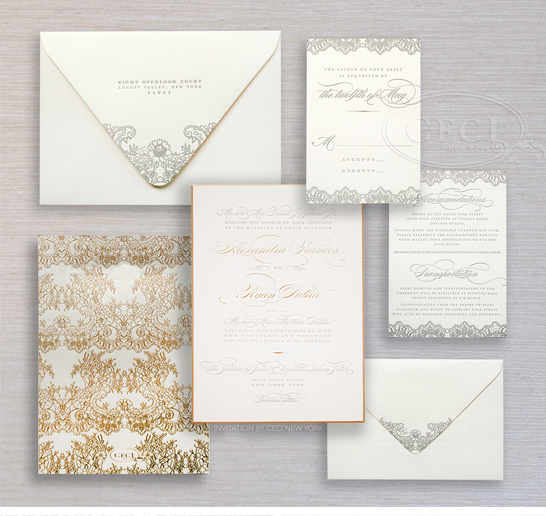 Luxury Wedding Invitations by Ceci New York - Our Muse - Urban Elegance - Be inspired by Alexandra and Ryan's elegant wedding in Wall Street, New York. - custom wedding invitations, luxury wedding invitations, couture, ceci new york, wall street, new york city