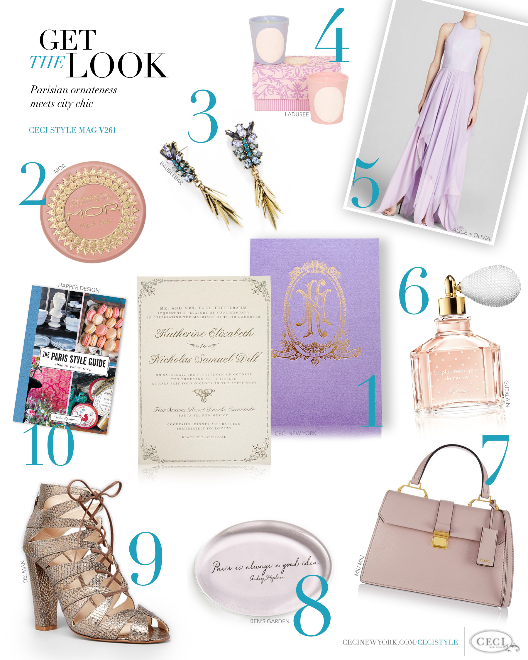 CeciStyle Magazine v261: Get The Look - Couture Culture - Parisian ornateness meets city chic. - Luxury Wedding Invitations by Ceci New York - ceci new york, fashion, style, luxury wedding invitations, couture, custom wedding invitations, ceci johnson, mor, baublebar, laduree, alice + olivia, gown, guerlain, miu miu, delman, elodie rambaud