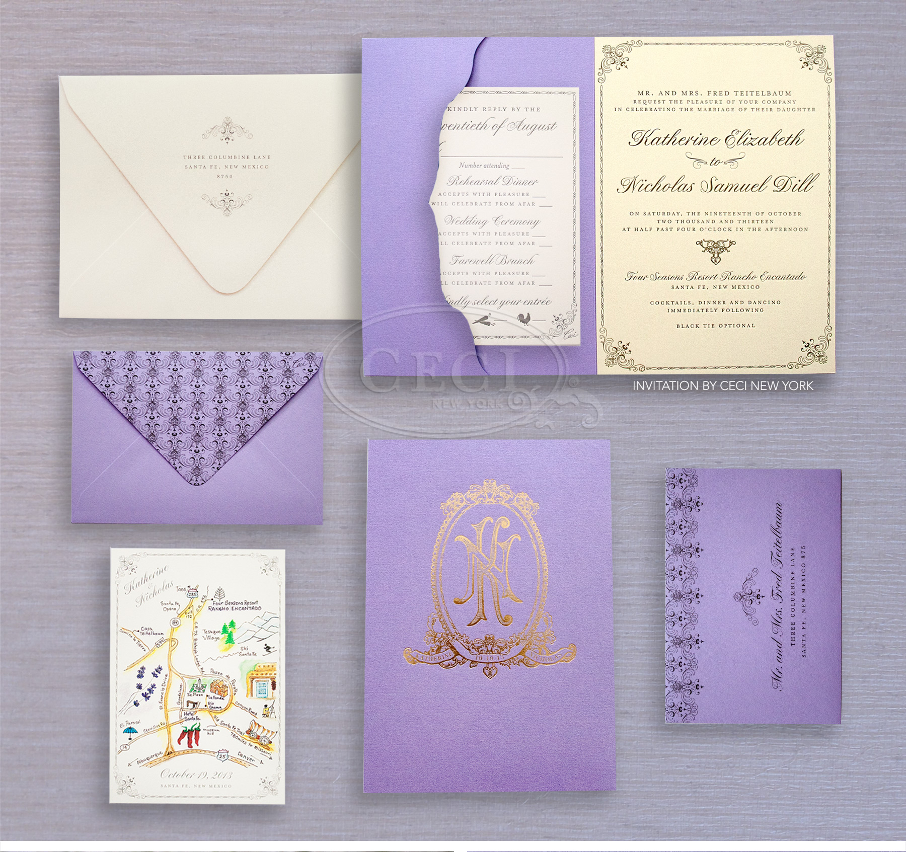 Luxury Wedding Invitations by Ceci New York - Our Muse - Couture Culture - Be inspired by Katie and Nick's cultural wedding - custom wedding invitations, luxury wedding invitations, couture, ceci new york, santa fe, new mexico