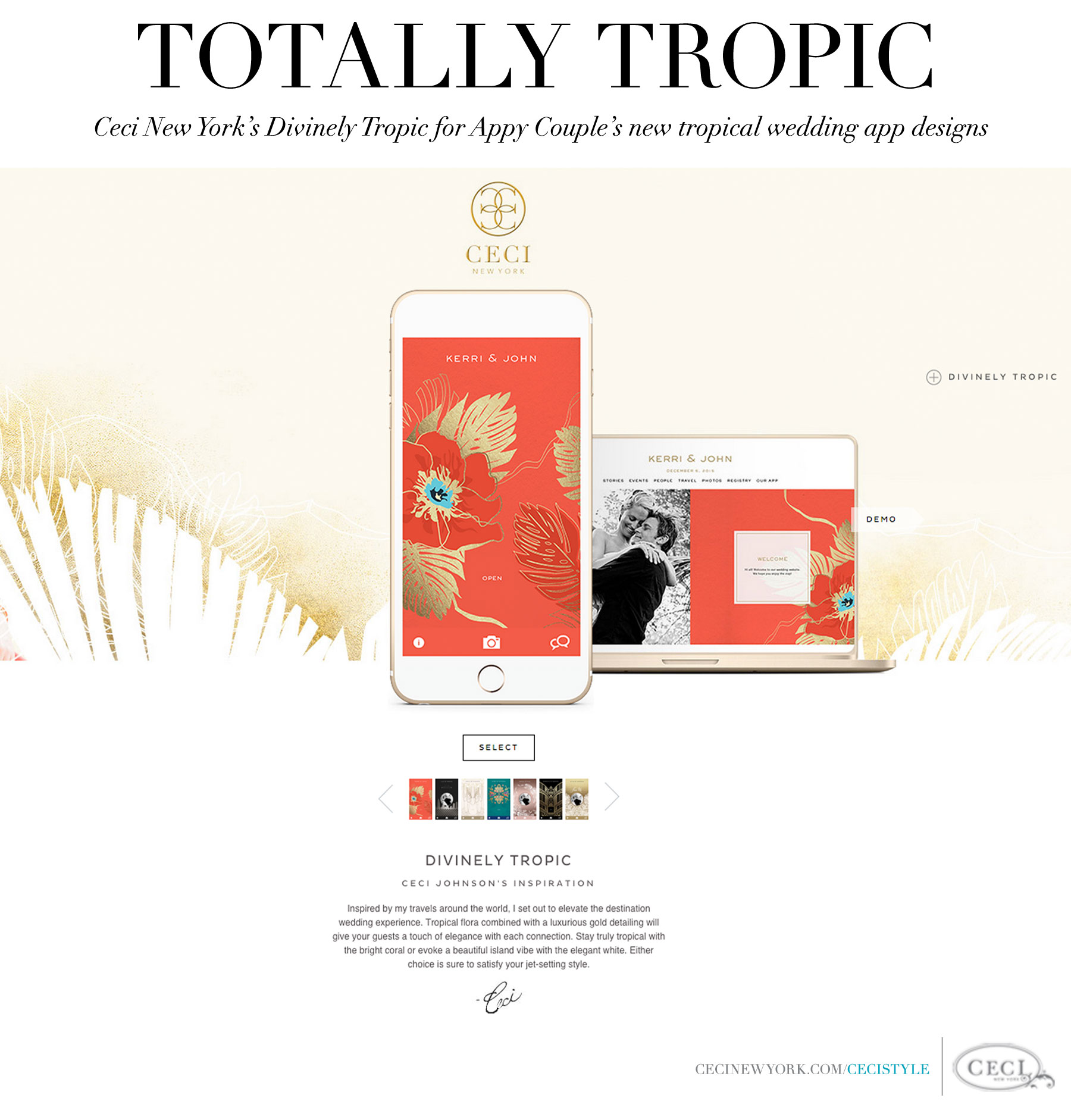 Ceci New York's Divinely Tropic for Appy Couple's New Tropical Wedding App Designs