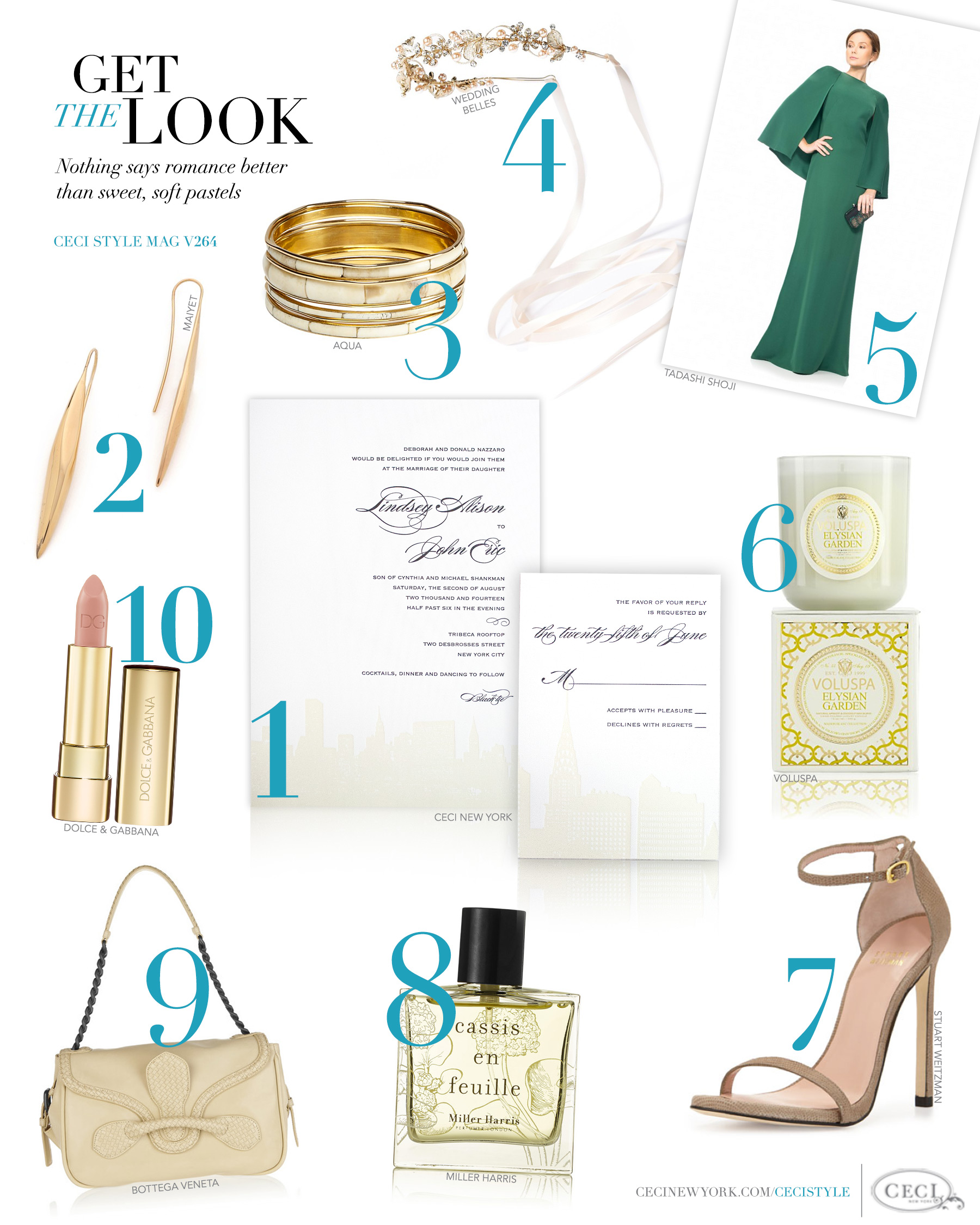 CeciStyle Magazine v264: Get The Look - Rooftop Romance - Nothing says romance better than sweet, soft pastels - Luxury Wedding Invitations by Ceci New York - fashion, style, ceci new york, maiyet, earrings, aqua, tanya bangles, tadashi shoji, gown, voluspa, stuart weitzman, sandals, miller harris, cassis en feuille, eau de parfum, bottega veneta, bag, dolce & gabbana, lipstick