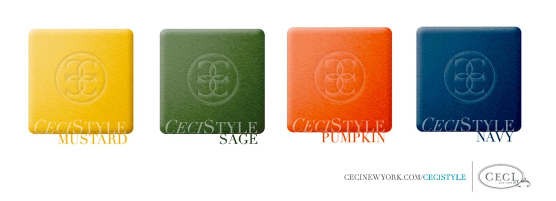 Ceci's Color Stories - Mustard & Sage Wedding Color Swatches - color swatches, mustard, sage, pumpkin, navy, ceci new york, ceci style, ceci johnson, color stories, inspiration