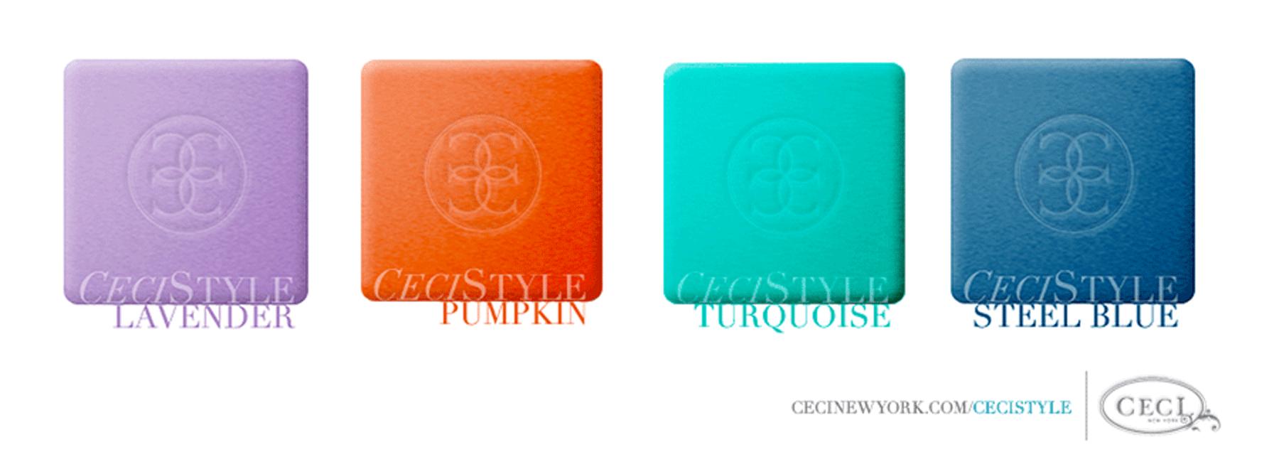 Ceci's Color Stories - Lavender & Pumpkin Birthday Party Color Swatches - color swatches, lavender, pumpkin, turquoise, steel blue, birthday party, color swatches