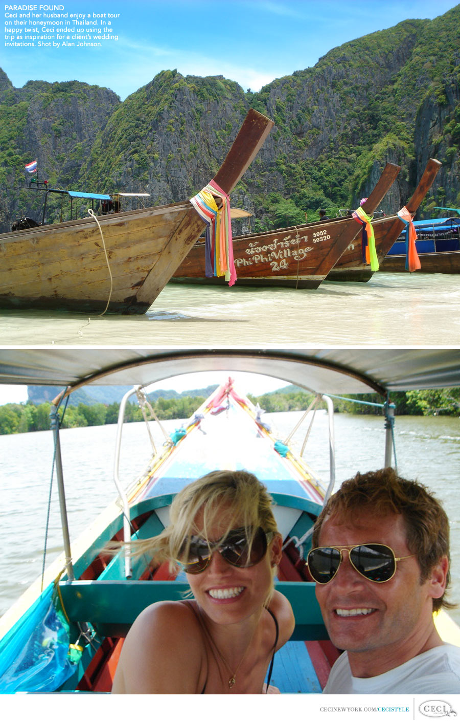 Ceci Johnson of Ceci New York - PARADISE FOUND: Ceci and her husband enjoy a boat tour on their honeymoon in Thailand. In a happy twist, Ceci ended up using the trip as inspiration for a client's wedding invitations. Shot by Alan Johnson.