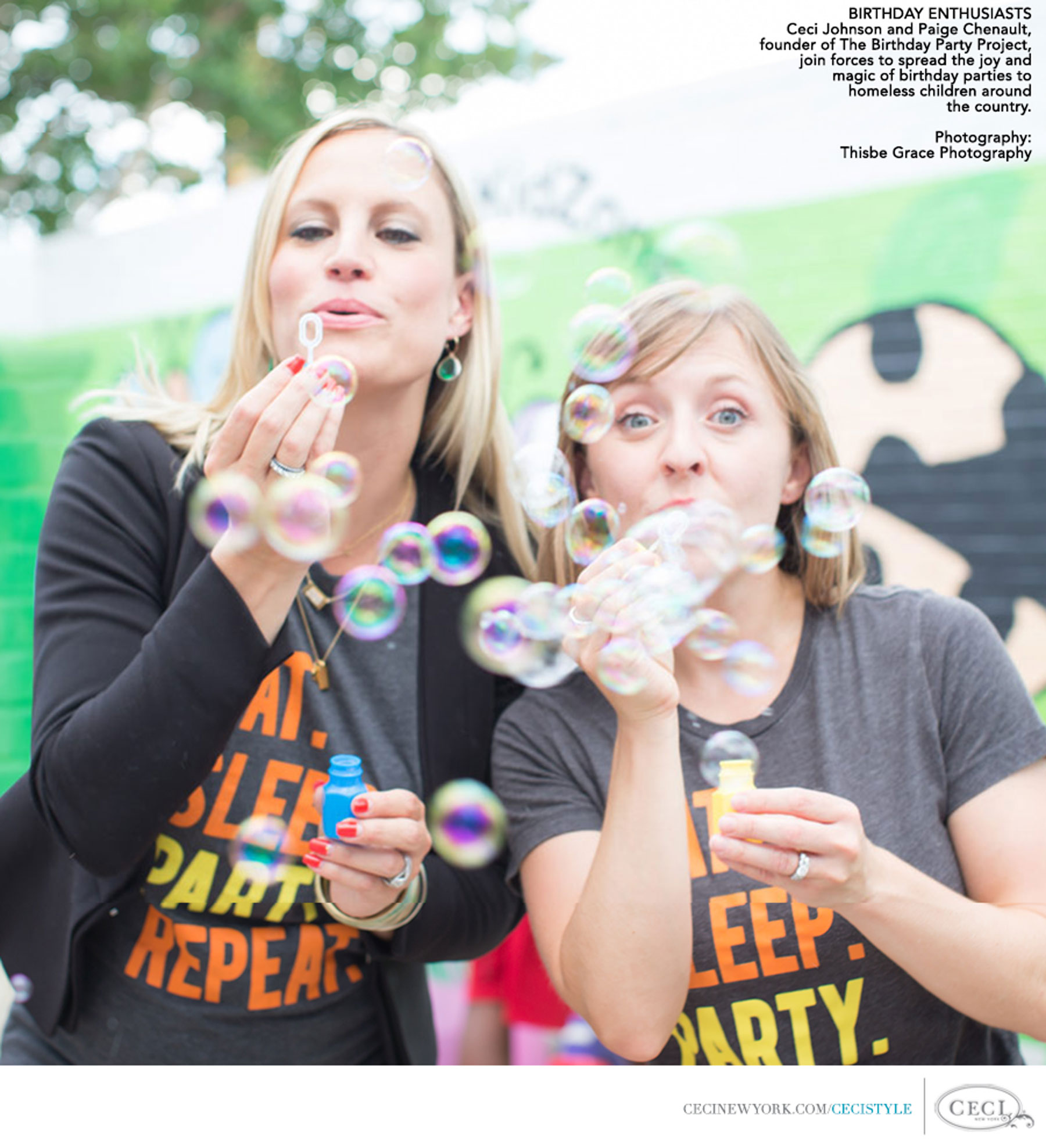 Ceci Johnson of Ceci New York - Birthday Enthusiasts - Ceci Johnson and Paige Chenault, founder of The Birthday Party Project, join forces to spread the joy and magic of birthday parties to homeless children around the country. Photography: Thisbey Grace Photography
