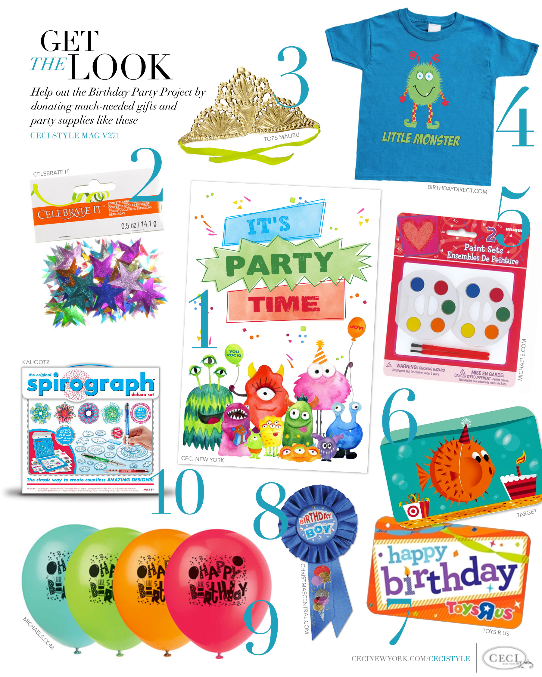 CeciStyle Magazine v271: Get The Look - Ceci New York Gives Back - Help out the Birthday Party Project by donating much-needed gifts and party supplies like these. - Birthday Party Invitations by Ceci New York - the birthday party project, giving back, ceci new york, donation, how to help a child in need, michaels, charity, tops malibu, gift cards, kid's birthday party, homeless children, toys r us, target