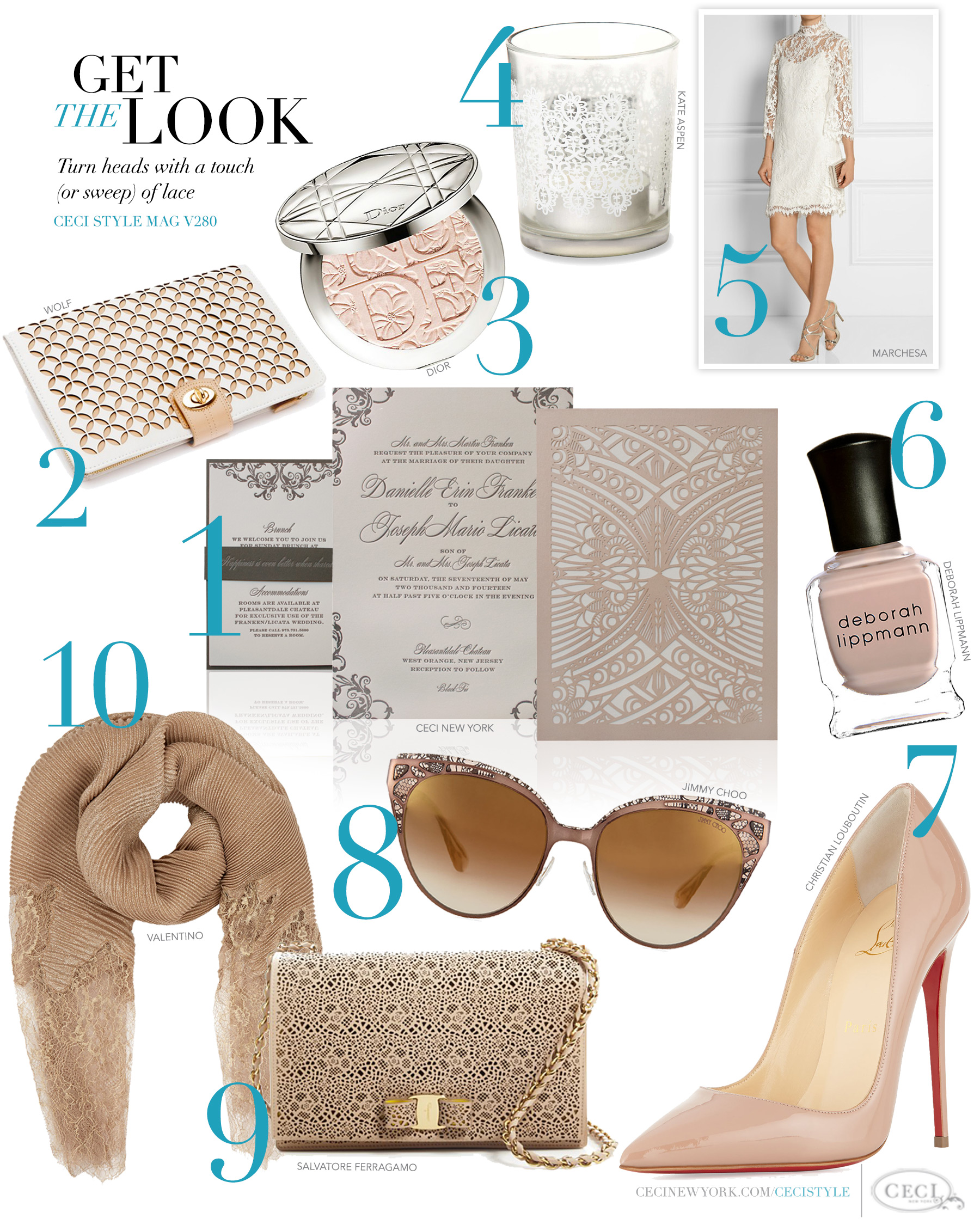 CeciStyle Magazine v280: Get The Look - Modern Lace - Turn heads with a touch (or sweep) of lace - Luxury Wedding Invitations by Ceci New York - ceci new york, couture, wedding invitations, lace, modern, contemporary, wolf, dior, kate aspen, marchesa, deborah lippmann, christian louboutin, jimmy choo, salvatore ferragamo, valentino, style, fashion, jewelry, handbag, luxury, high end, dresses