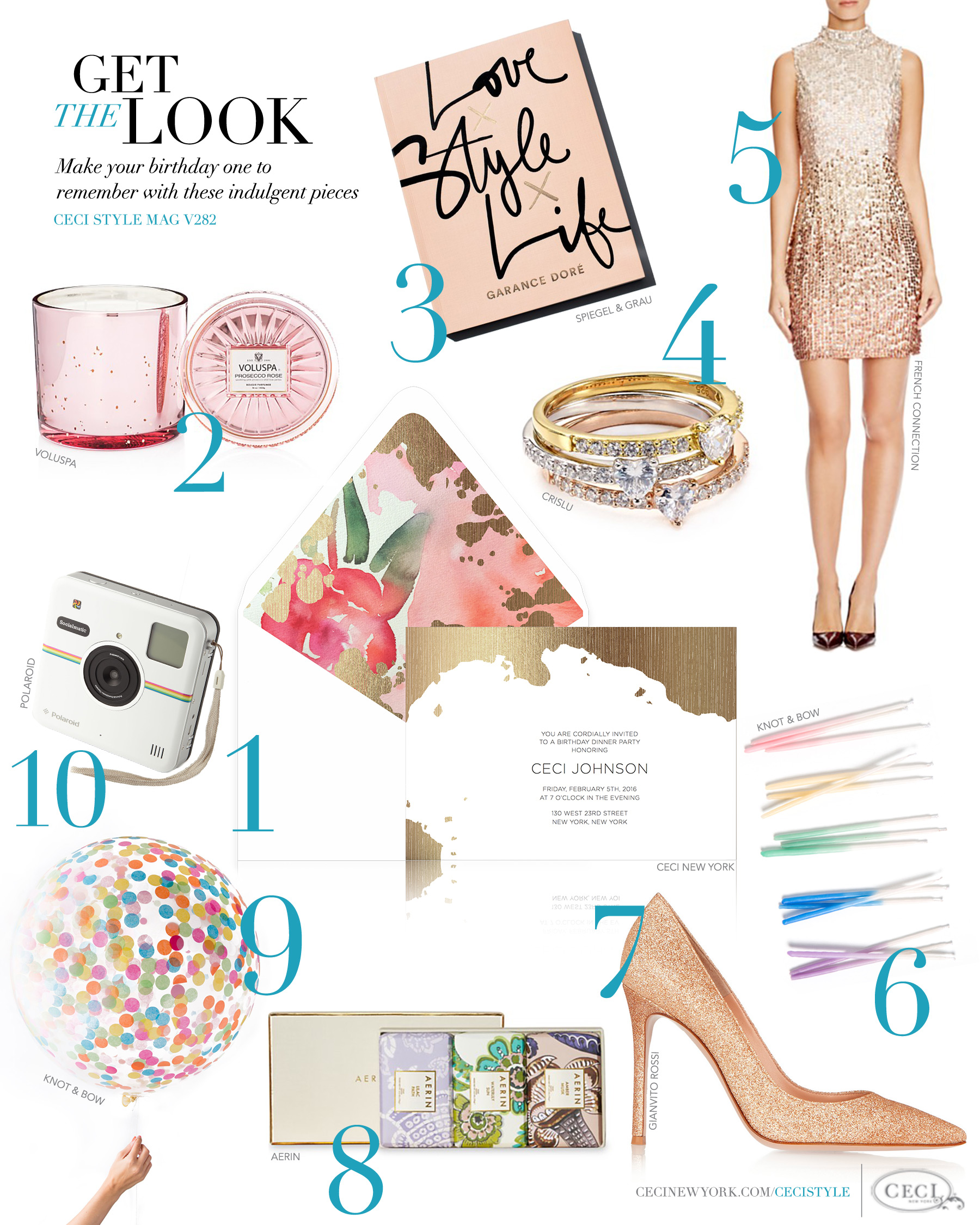 CeciStyle Magazine v282: Get The Look - Happy Birthday Ceci! - Make your birthday one to remember with these indulgent pieces - Luxury Wedding Invitations by Ceci New York - ceci new york, luxury invitation, birthday invitation, ceci johnson, voluspa, garance dore, crislu, french connection, knot and bow, gianvito, aerin, polaroid, home goods, gift idea, black, gifts, presents, glitter, metallic, sequin, party, fun, jewelry, fashion, style, food
