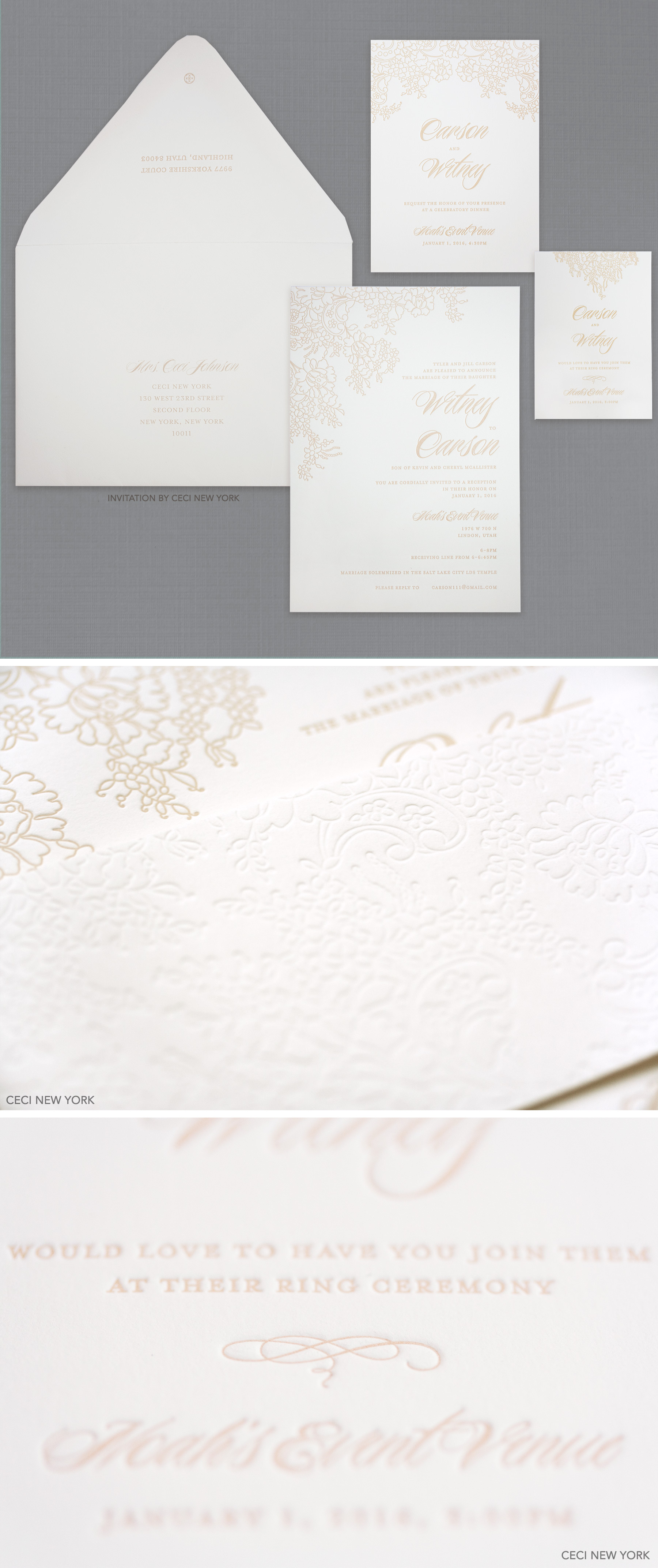 Luxury Wedding Invitations by Ceci New York - Our Muse - Winter Wonderland in Salt Lake City - Take a look at Witney Carson's wintry wedding in Salt Lake City - ceci new york, wedding invitations, classic wedding invitations, luxury, letterpress, white, ivory, sand, elegant wedding invitations, belly band, winter wedding, salt lake city, inspiration, simple, celebrity wedding