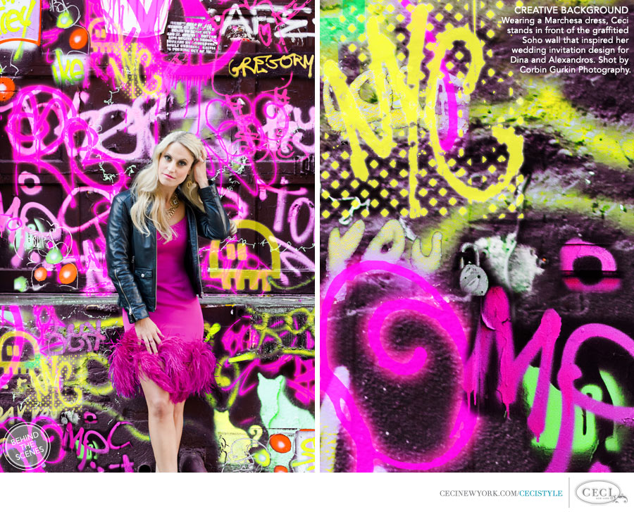 Ceci Johnson of Ceci New York - CREATIVE BACKGROUND: Wearing a Marchesa dress, Ceci stands in front of the graffitied Soho wall that inspired her wedding invitation design for Dina and Alexandros.