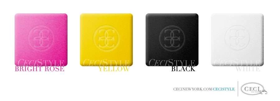 Ceci Color Stories - Bright Rose & Yellow Wedding Colors - color swatches, black, bright rose, wedding, white, yellow