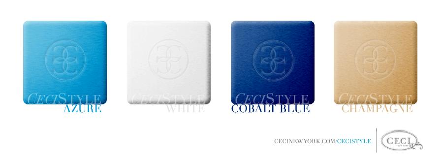 Ceci's Color Stories – Blue & White Wedding Colors - color swatches, azure, champagne, cobalt blue, wedding, white