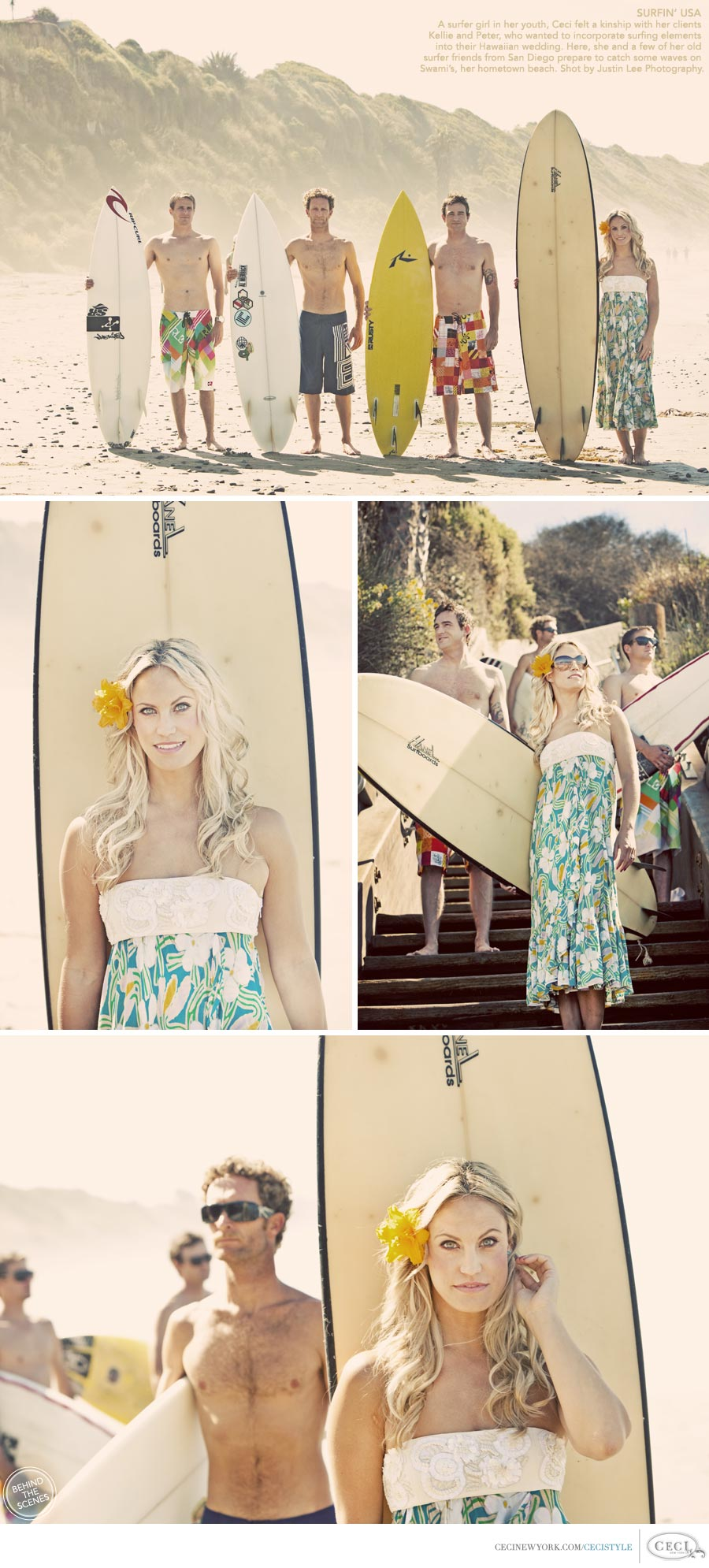 Ceci Johnson of Ceci New York - SURFIN' USA: A surfer girl in her youth, Ceci felt a kinship with her clients Kellie and Peter, who wanted to incorporate surfing elements into their Hawaiian wedding. Here, she and a few of her old surfer friends from San Diego prepare to catch some waves on Swami's, her hometown beach. Shot by Justin Lee Photography.