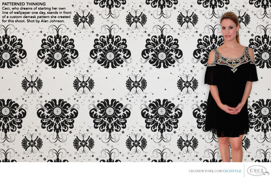 Ceci Johnson of Ceci New York - PATTERNED THINKING: Ceci, who dreams of starting her own line of wallpaper one day, stands in front of a custom damask pattern she created for this shoot. Photography by Alan Johnson.