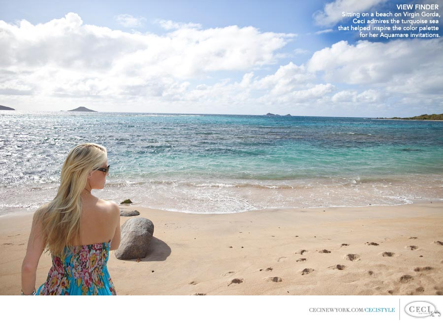 Ceci Johnson of Ceci New York - VIEW FINDER: Sitting on a beach on Virgin Gorda, Ceci admires the turquoise sea that helped inspire the color palette for her Aquamare invitations.