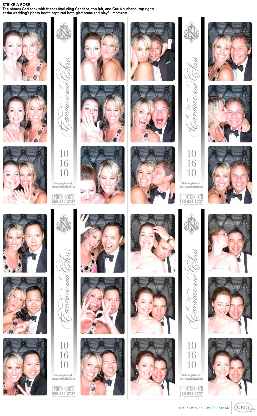 Ceci Johnson of Ceci New York - STRIKE A POSE: The photos Ceci took with friends (including Candace, top left, and her husband, top right) at the wedding's photo booth captured both glamorous and playful moments.
