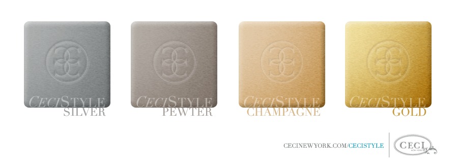 Ceci's Color Stories - Silver & Pewter Wedding Colors - color swatches, champagne, gold, pewter, silver, wedding