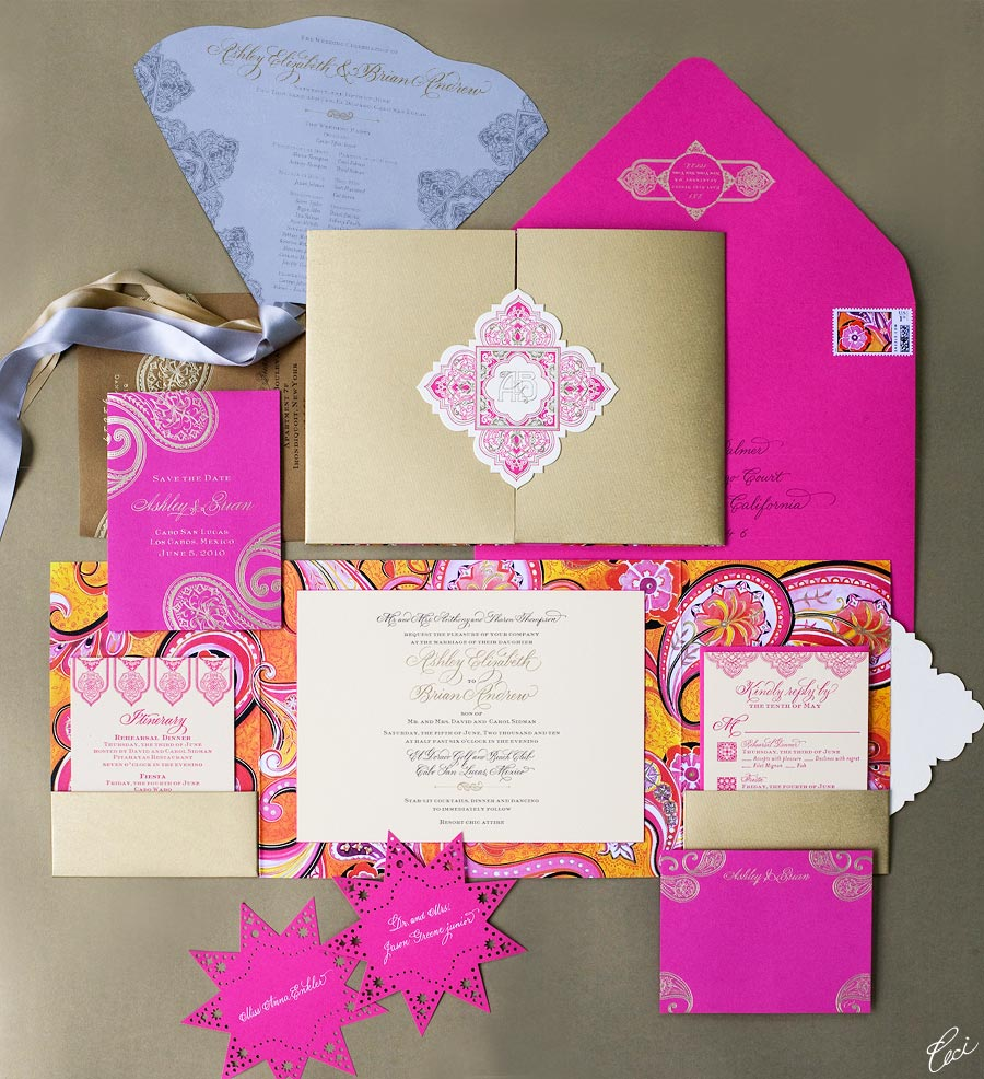 Luxury Wedding Invitations by Ceci New York - Our Muse - Be inspired by Ashley &#038; Brian's summer Mexico wedding at El Dorado Golf &#038; Beach Club, Los Cabos, Mexico - custom stamps, die cutting, digital printing, foil stamping, hand calligraphy, hand-drawn, invitations, laser-cut printing, letterpress printing, watercolor painting, wedding