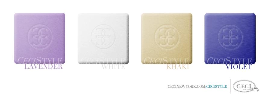 Ceci's Color Stories - Lavender & White Wedding Colors - color swatches, khaki, lavender, violet, white