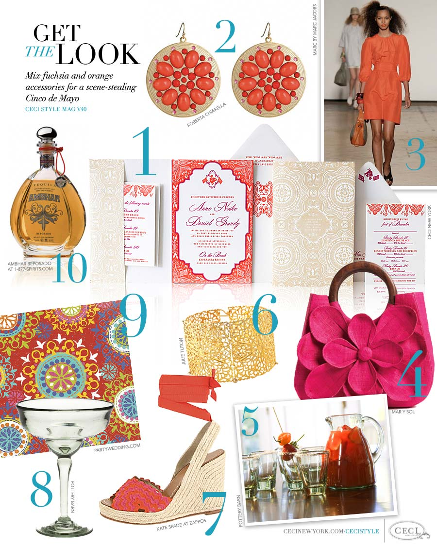 CeciStyle Magazine v40: Get The Look - Mix fuchsia and orange accessories for a scene-stealing Cinco de Mayo