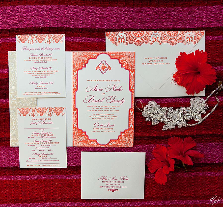 Luxury Wedding Invitations by Ceci New York - Our Muse - Be inspired by Anne & Daniel's beach wedding in Mexico at Esperanza Resort, Cabo San Lucas, Mexico - invitations, letterpress printing, wedding