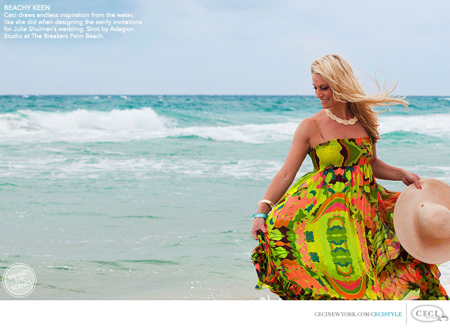 Ceci Johnson of Ceci New York - BEACHY KEEN: Ceci draws endless inspiration from the water, like she did when designing the swirly invitations for Julie Shulman's wedding. Shot by Adagion Studio at The Breakers Palm Beach.