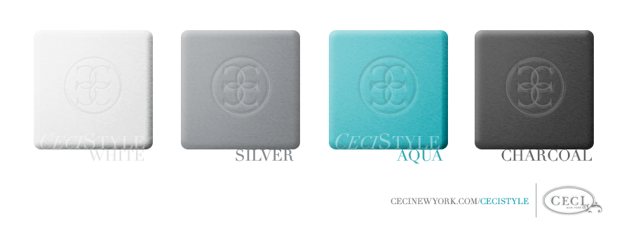 Ceci's Color Stories - White & Silver Wedding Colors - color swatches, aqua, charcoal, silver, white