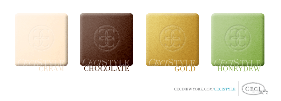Ceci's Color Stories - Cream & Chocolate Wedding Colors - color swatches, chocolate, cream, gold, honeydew
