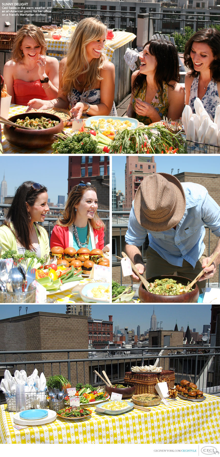 Ceci Johnson of Ceci New York - SUNNY DELIGHT: Ceci basks in the warm weather with an all-American picnic on a friend's Manhattan roof.