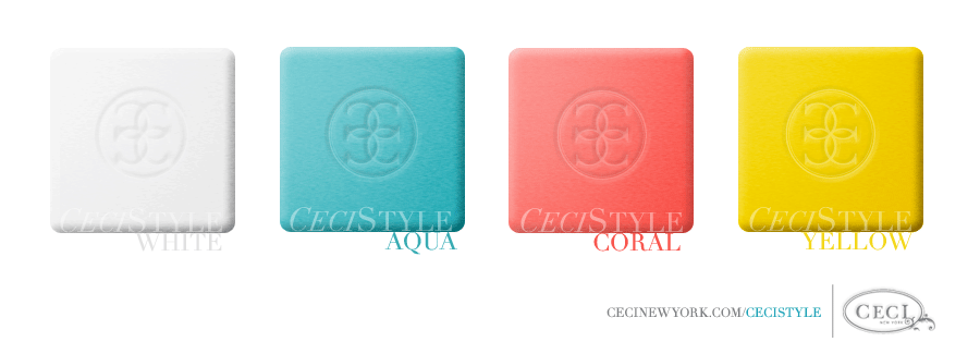 Ceci's Color Stories - White & Aqua Wedding Colors - color swatches, aqua, coral, white, yellow