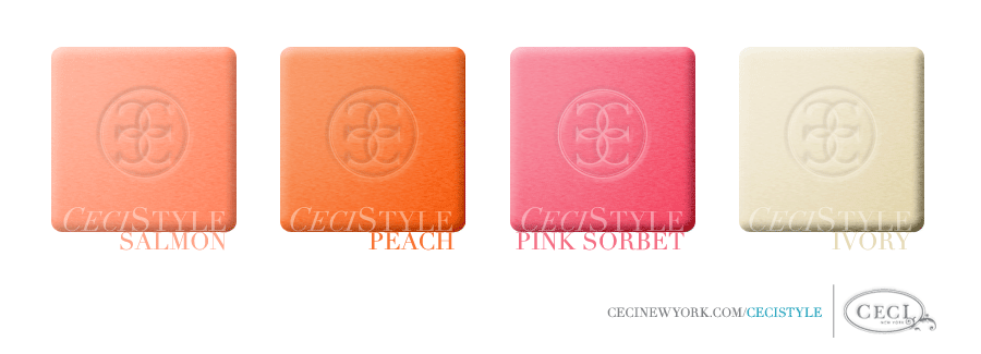 Ceci Color Stories - Peach & Cream Wedding Colors - color swatches, ivory, peach, pink sorbet, salmon, wedding