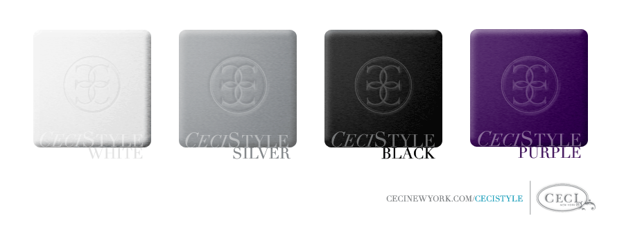 Ceci's Color Stories - White & Purple Wedding Colors - color swatches, black, purple, silver, white